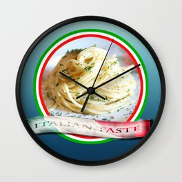 Food. Rolled spaghetti. Italian taste. Wall Clock