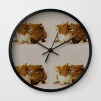 pigs Wall Clocks featuring Guinea pigs by Guna Andersone & Mario Raats - G&M Studi