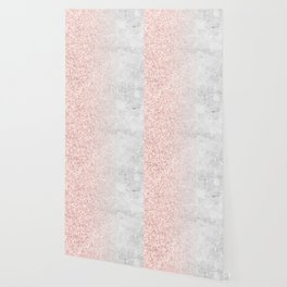Blush Pink Sparkles on White and Gray Marble Wallpaper