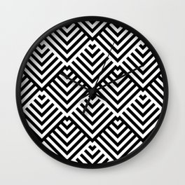Op art pattern with black and white striped lines Wall Clock