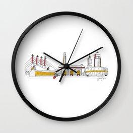 Kansas City Skyline Illustration in KC Football Colors Wall Clock