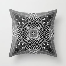 Black & White Tribal Symmetry Throw Pillow
