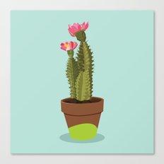 Green Pot Cactus Canvas Print