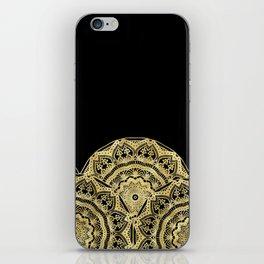 Golden Mandalas on Black iPhone Skin