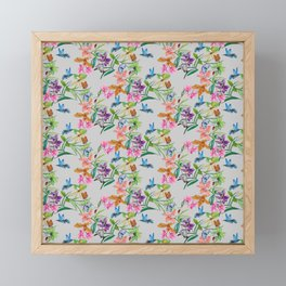 print of flowers, plants and hummingbirds Framed Mini Art Print