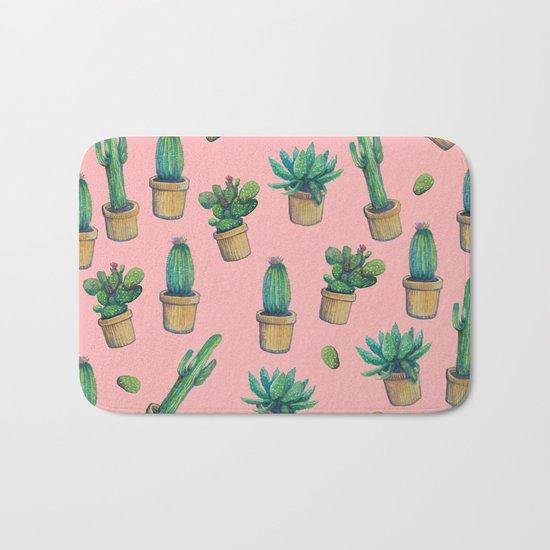cactus pink water color Bath Mat