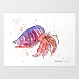 Watercolour Hermit Crab Art Print