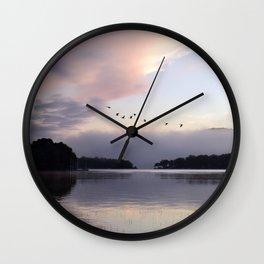 Uplifting III: Geese Rise at Dawn on Lake George Wall Clock