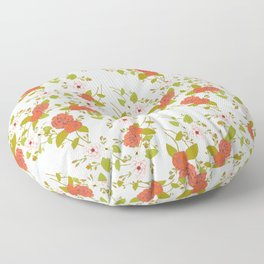 Climbing Roses, Crimson, Green, Pink and Grey Floor Pillow