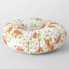 Climbing Roses, Crimson, Green, Pink and Grey Floor Pillow