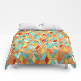 Tangerine & Turquoise Geometric Tile Pattern Comforters