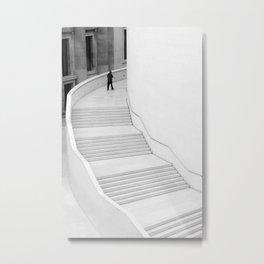 British Museum, London - Minimal white Staircase Metal Print