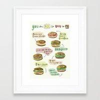 biology Framed Art Prints featuring Bagel Biology by Faye Finney
