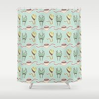 sticker Shower Curtains featuring sticker monster pattern 8 by freshinkstain