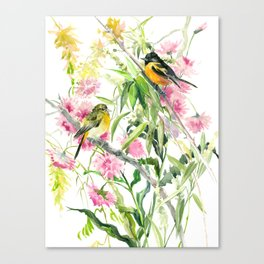 Baltimore Oriole and Garden Flowers Canvas Print