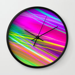 neon saturn waves Wall Clock