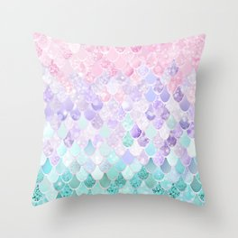 Mermaid Pastel Iridescent Throw Pillow