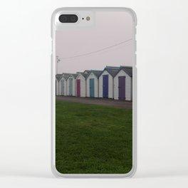 Preston Beach Huts On A Foggy Morning Clear iPhone Case