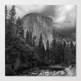 Yosemite National Park, El Capitan, Black and White Photography, Outdoors, Landscape, National Parks Canvas Print