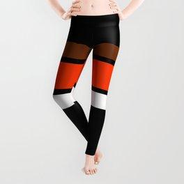 Team Colors 2....orange,brown,white stripes on black Leggings