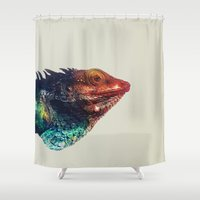 lizard Shower Curtains featuring Lizard by Nicklas Heldius