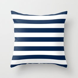 Slate Blue and White Stripes  - Navy Nautical Pattern Throw Pillow