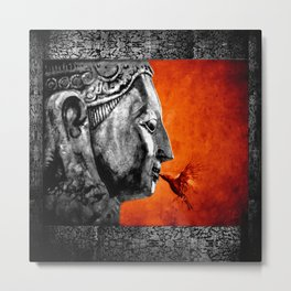 BUDDHA KISS - frame orange black version Metal Print