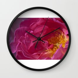 At the heart of a deep pink rose Wall Clock