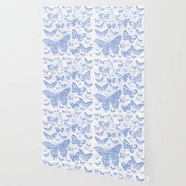 baby blue butterflies, shabby chic Wallpaper