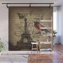 I love Paris Shabby chic Robin French Scripts Jubilee Crown Vintage Paris Eiffel Tower Wall Mural