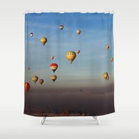 hot air balloons Shower Curtains featuring Hot Air Balloons - Cappadocia  by Barbo's Art