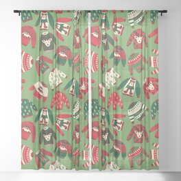 Ugly Christmas Sweaters Pattern Sheer Curtain