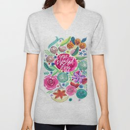 Have a Blessed Day Watercolor Florals Unisex V-Neck