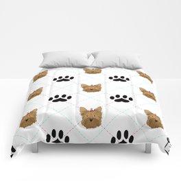 Yorkie Paw Print Pattern Comforters