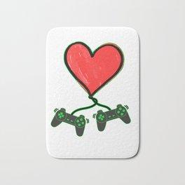 Romantic Video Gamer Heart Controller Funny Bath Mat
