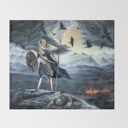Valkyrie and Crows Throw Blanket