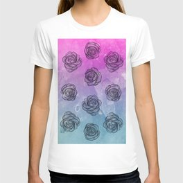 Pink & Blue Roses T-shirt