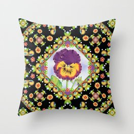 Purple Pansy Portrait Throw Pillow
