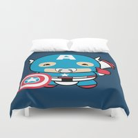 avenger Duvet Covers featuring Littlest Avenger by OneWeirdDude