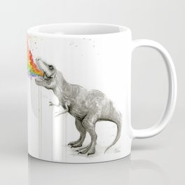 T-Rex Dinosaur Rainbow Puke Taste the Rainbow Watercolor Coffee Mug
