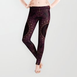 Mandala in dark purple and golden colors Leggings