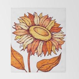 Golden Orange Flower Throw Blanket
