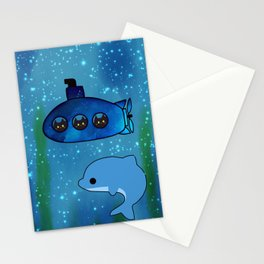 cats and dolphin 202 Stationery Cards