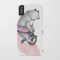 cycling iPhone & iPod Cases featuring Cycling Bear by Brooke Weeber