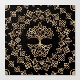 Triquetra - Tree of life -Yggdrasil Gold on Black Canvas Print