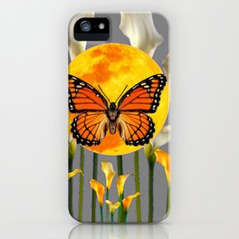 FANTASIC MONARCH BUTTERFY MOON & CALLA LILIES iPhone Case
