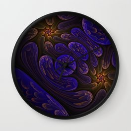Surreal abstract fractal with rounded and flowers shapes Wall Clock