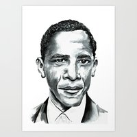 obama Art Prints featuring Obama by Bridget Davidson