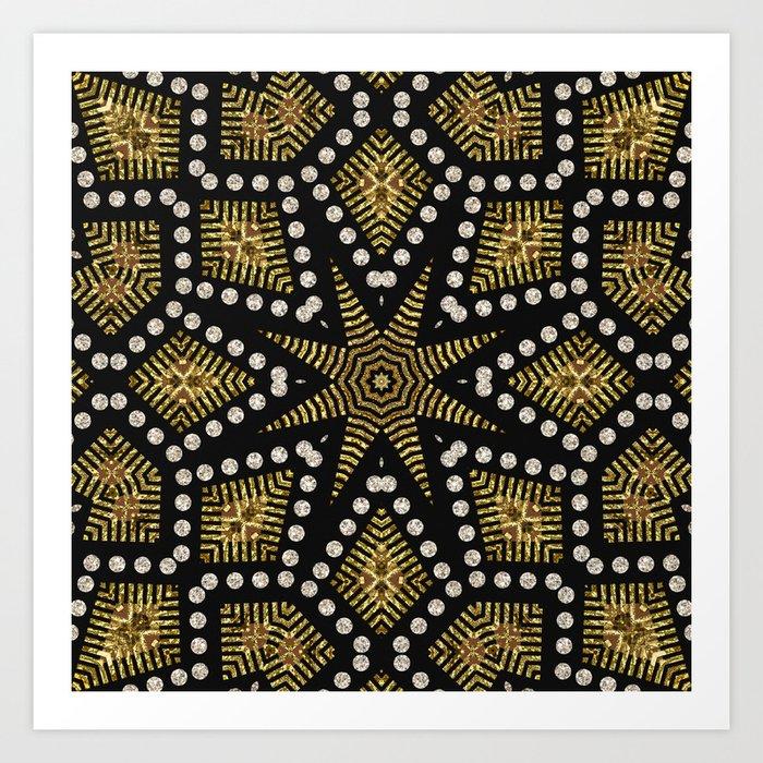 Black Gold | Geometric Tribal Art Print
