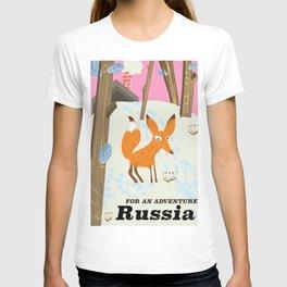 Russia Fox vintage travel poster T-shirt